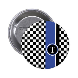 checkered pattern with blue stripe pinback button