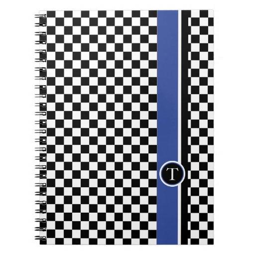 checkered pattern with blue stripe spiral notebook