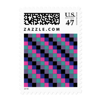 Checkered Pattern with Green Purple Black Blue and Stamp