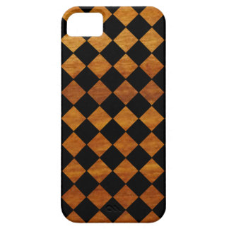checkered pattern + wooden texture iPhone 5 case