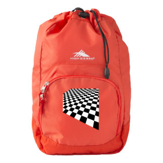 Checkered Perspective Pattern Backpack