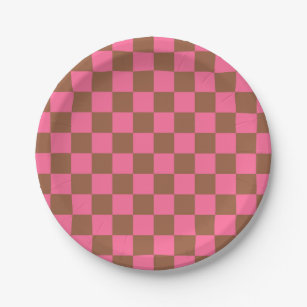 Checkered Pink and Brown Paper Plate  sc 1 st  Zazzle & Brown Checkered Plates | Zazzle