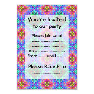 Checkered Pink and Terquoise Fractal Pattern Card