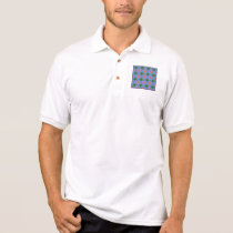 Checkered Pink and Terquoise Fractal Pattern Polo Shirt