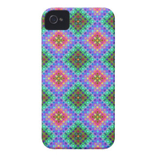 Checkered Pink and Turquoise Fractal Pattern iPhone 4 Case-Mate Case