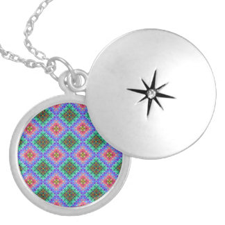 Checkered Pink and Turquoise Fractal Pattern Locket Necklace