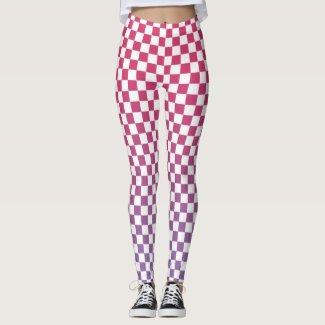 Checkered Pink to Purple Gradient Pattern Leggings
