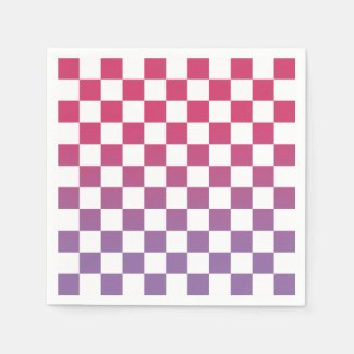 Checkered Pink to Purple Ombré Pattern Napkins