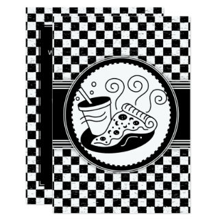 Checkered Pizza-Party Black-White Pattern Card