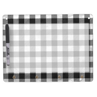Checkered Plaid Black And White Dry Erase Board With Keychain Holder