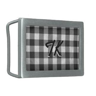 Checkered Plaid Black And White Rectangular Belt Buckle