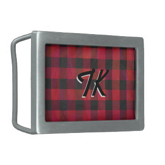 Checkered Plaid Red and Black Belt Buckle