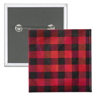 Checkered Plaid Red and Black Button
