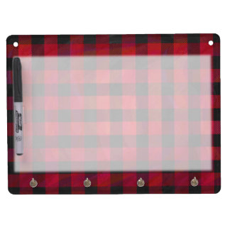 Checkered Plaid Red and Black Dry Erase Board With Keychain Holder