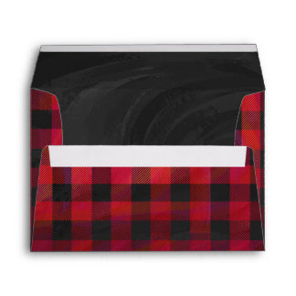 Checkered Plaid Red and Black Envelope