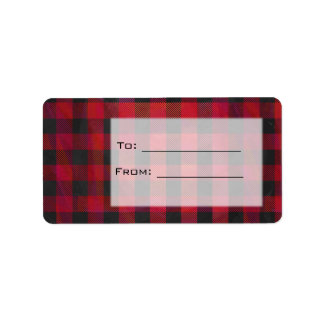 Checkered Plaid Red and Black Label