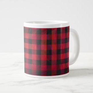 Checkered Plaid Red and Black Large Coffee Mug