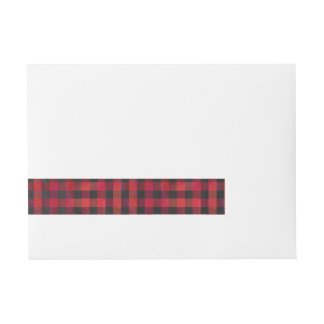 Checkered Plaid Red and Black Wrap Around Address Label