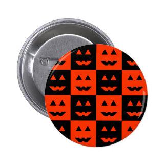 Checkered Pumpkin Face Pin