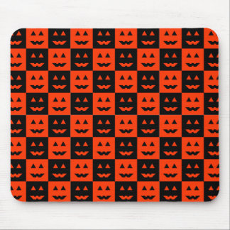 Checkered Pumpkin Face Mouse Pad