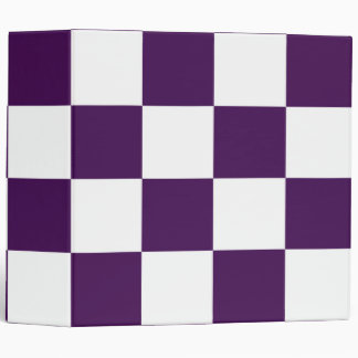 Checkered Purple and White Binder