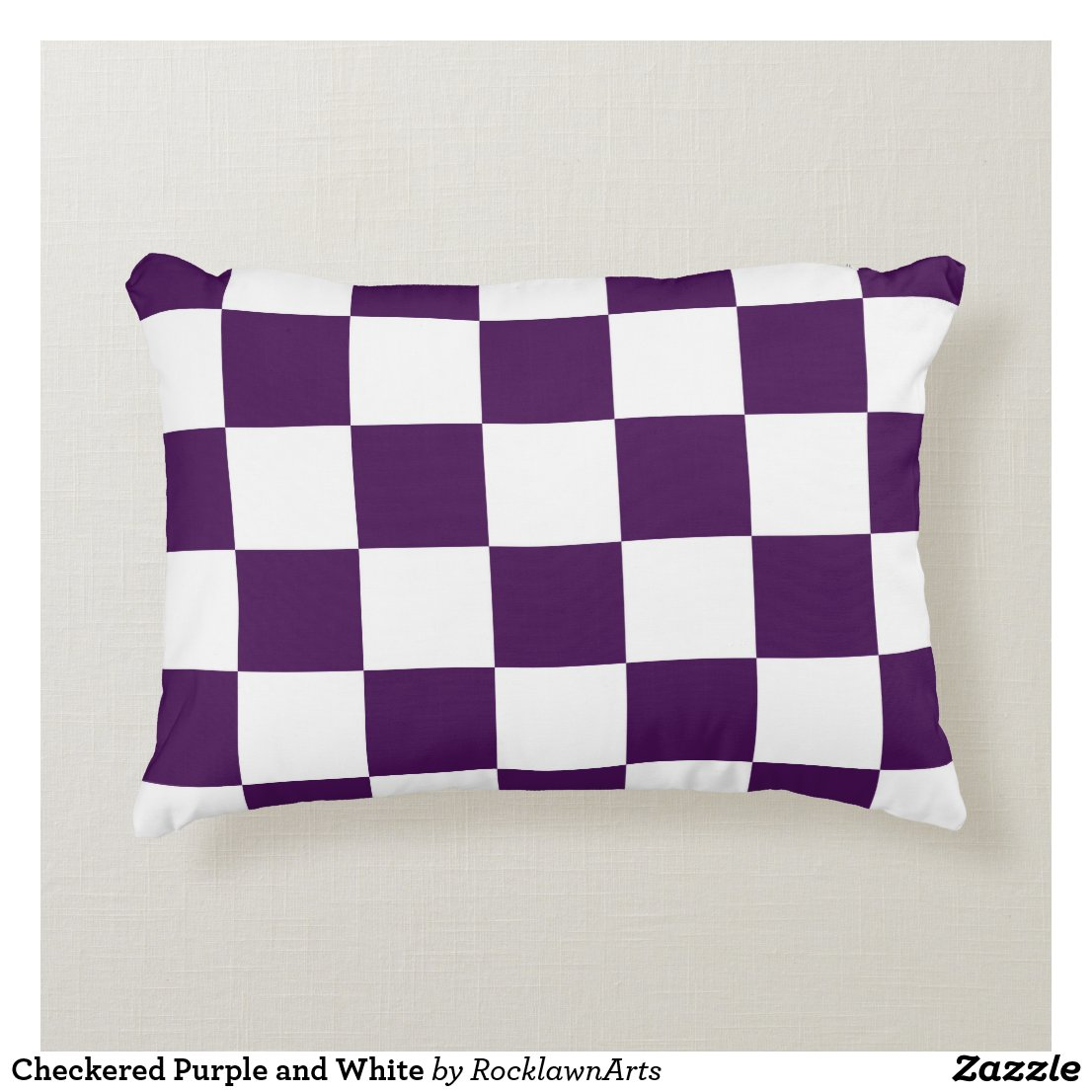 Checkered Purple and White Decorative Pillow