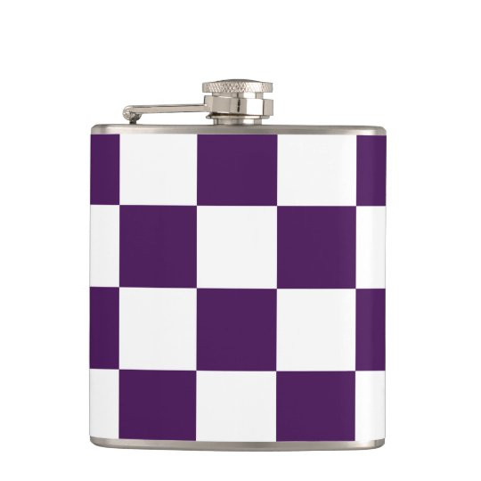 Checkered Purple and White Flask