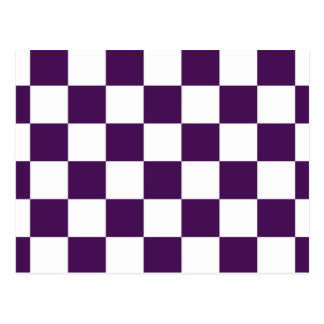Checkered Purple and White Post Card