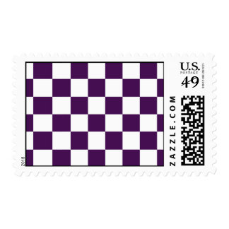 Checkered Purple and White Postage