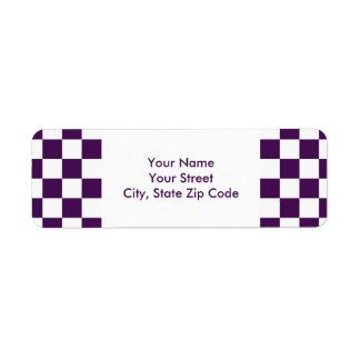 Checkered Purple and White return address label