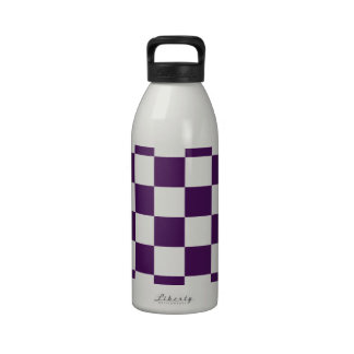 Checkered Purple and White Reusable Water Bottles