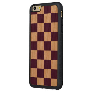 Checkered Purple and White Carved® Cherry iPhone 6 Plus Bumper Case