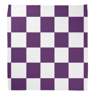 Checkered Purple and White Bandana