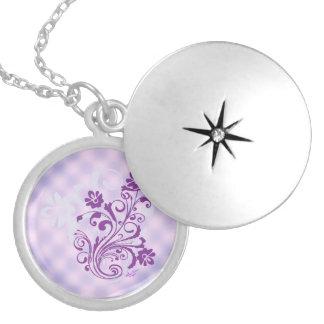 Checkered Purple Floral Swirl Silver Round Locket