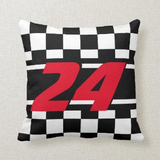Checkered Race Car | DIY Color | Number Throw Pillow