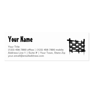Checkered Racing Brush Flag Mini Business Card