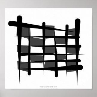 Checkered Racing Brush Flag Poster