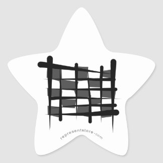 Checkered Racing Brush Flag Star Sticker