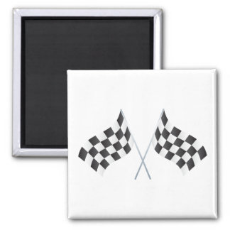 checkered racing flags graphic 2 inch square magnet