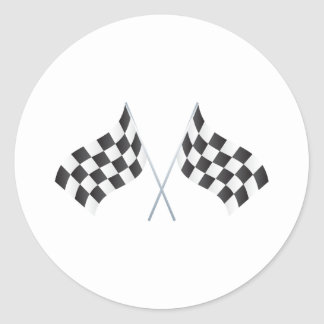 checkered racing flags graphic classic round sticker