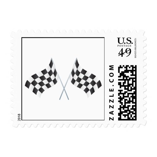 checkered racing flags graphic postage