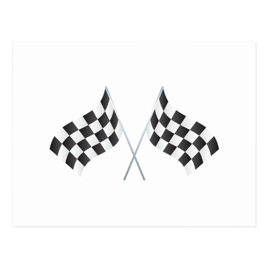 checkered racing flags graphic postcard