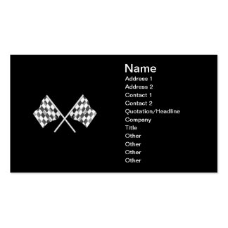 checkered racing flags with a black background business card