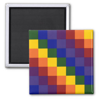 Checkered Rainbow 2 Inch Square Magnet