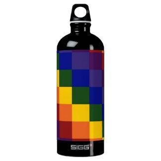 Checkered Rainbow Aluminum Water Bottle