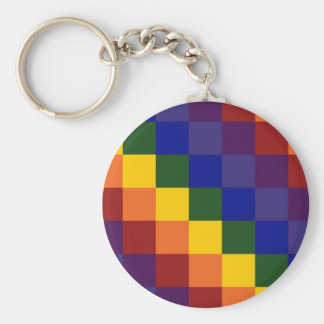 Checkered Rainbow Basic Round Button Keychain