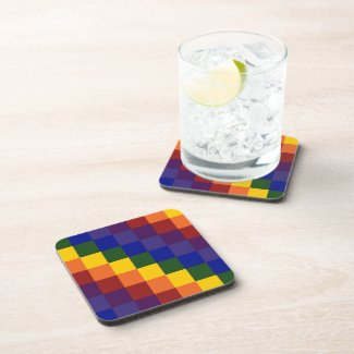 Checkered Rainbow Beverage Coaster