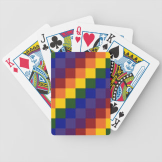 Checkered Rainbow Bicycle Playing Cards