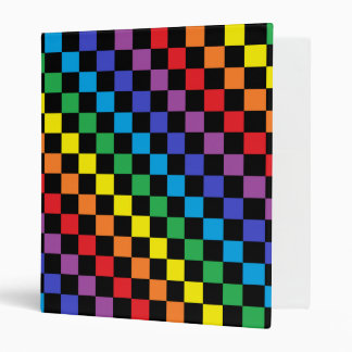 Checkered Rainbow Black 3 Ring Binder