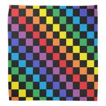 Checkered Rainbow Black Bandana